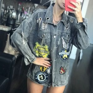 GRAY OVERSIZE DENIM JACKET WITH PATCHES ONE SIZE
